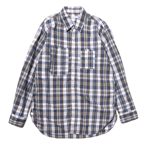 Engineered Garments Plaid Cotton Broadcloth Work Shirt Navy/Brown, Shirts