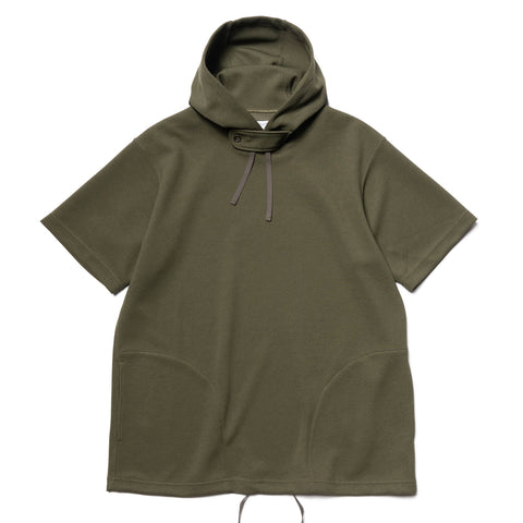Engineered Garments Poly Diamond Knit Short Sleeve Hoody Olive, Tops
