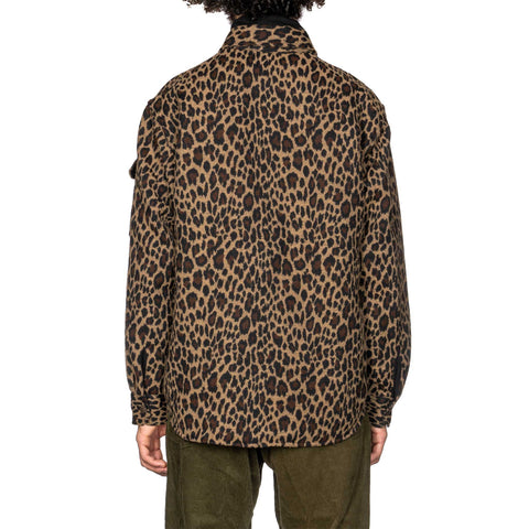Engineered Garments Poly Wool Leopard Jacquard Field Shirt Jacket Brown, Jackets