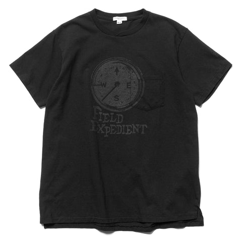 Engineered Garments Printed Cross Crew Neck T-Shirt -Compass- Black