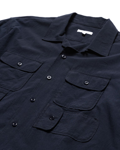 Engineered Garments Solid Cotton Lawn Bowling Shirt Navy, Shirts