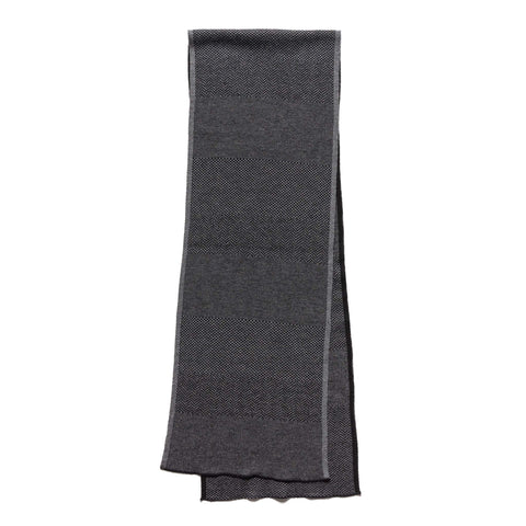 Engineered Garments Wool Herringbone Knit Scarf Charcoal, Accessories