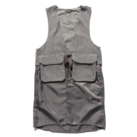 Engineered Garments Wool Poly Gunclub Check Long Fowl Vest Gray, Outerwear