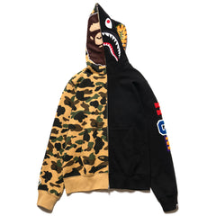 A BATHING APE 1st Camo 2nd Ape Shark Half Full Zip Hoodie Yellow, Sweaters
