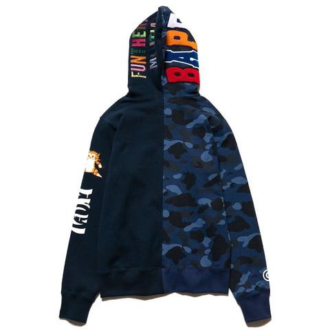 A BATHING APE 2nd Ape Tiger Half Full Zip Hoodie Navy, Sweaters