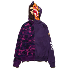 A BATHING APE 2nd Ape Tiger Half Full Zip Hoodie Purple, Sweaters