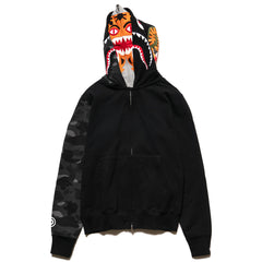 A BATHING APE Color Camo Tiger Shark Full Zip Double Hoodie Black, Sweaters