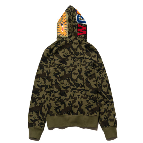 A BATHING APE Desert Camo Shark Full Zip Hoodie Green, Sweaters