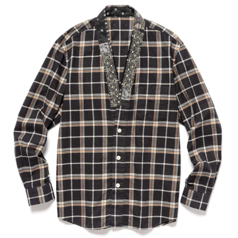 SOPHNET. Flannel Check Gown Shirt Brown, Shirts