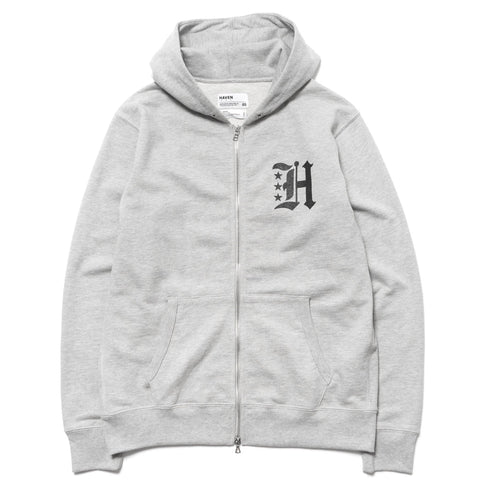 HAVEN Gothic H French Terry Full Zip Hoodie Gray