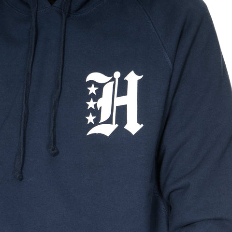 haven Gothic H French Terry Pullover Hoodie Navy