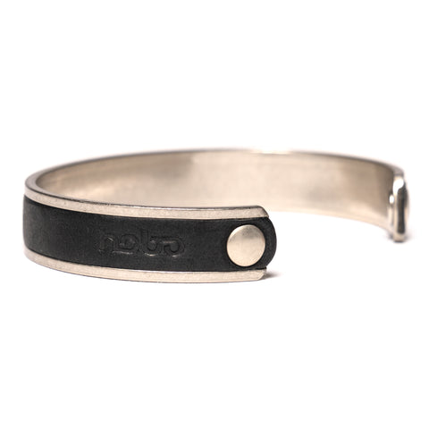 hobo Brass Plate Small Bracelet With Oiled Cow Leather Black, Accessories