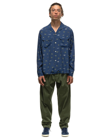 Human Made Duck Pattern Aloha L/S Shirt Navy, Shirts