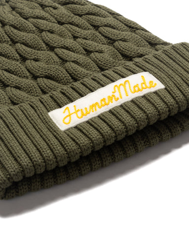 Human Made Cotton Cable Beanie Olive Drab, Headwear