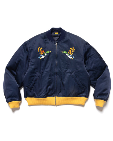 Human Made Satin Jacket Navy, Outerwear
