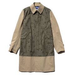 Junya Watanabe MAN Cotton Back Satin Print x Cotton Polyester Cloth Coat Khaki x Beige, Outerwear