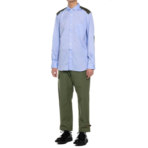 Junya Watanabe MAN Cotton Herringbone x Cotton Twill Peach Top Sax x Khaki, Shirts