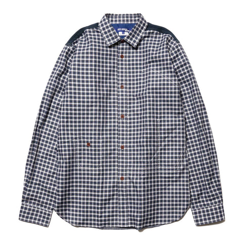 JUNYA WATANABE MAN Cotton Oxford Check x Cotton Flannel Navy/Gray/White x Navy, Tops