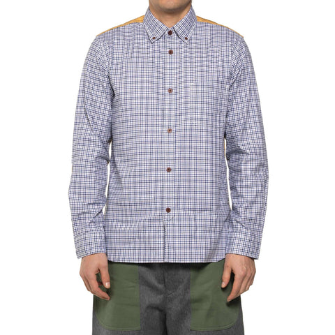 Junya Watanabe MAN Cotton Oxford Check x Double Faced Polyester White/Navy/Gray x Yellow, Tops