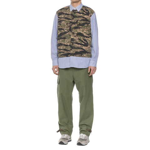 Junya Watanabe MAN Cotton Uneven Chino Print x Cotton Dobby Stripe Top Khaki x White/Blue, Shirts