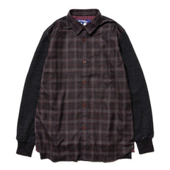JUNYA WATANABE MAN Wool Stretch Piled x Wool Check Flannel Gray x Gray/Red, Tops