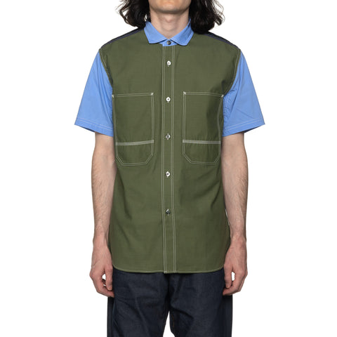Junya Watanabe MAN Cotton Stripe x Cotton Back Satin SS Shirt Blue x Khaki, Shirts