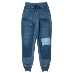Kapital IDG Fleecy Knit Remake SWT Pants Indigo, Bottoms