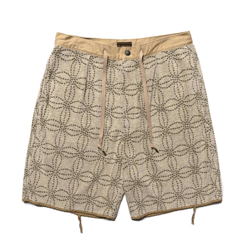 KAPITAL IRAGO Pile SASHIKO Shorts Khaki, Bottoms