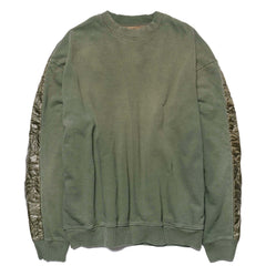 KAPITAL Jersey x Nylon Quilting Army 2 Tone Big Sweat Shirt Khaki, Sweaters
