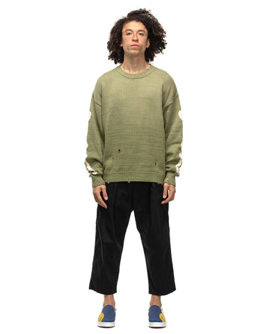 Kapital 5G Cotton Knit BONE Crew Sweater Khaki, Knits