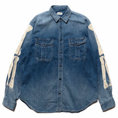 KAPITAL 8oz Denim Work Shirt (Bone Embroidery) Indigo, Shirts