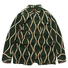 KAPITAL Cotton Linen Canvas Drunken-Stripe Cactus Coverall Green, Outerwear