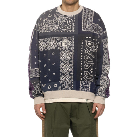KAPITAL Fleecy Knit Bandana BIVOUAC Big Sweater Purple/Navy, Sweaters