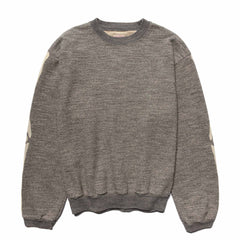 KAPITAL Grandrelle Fleece Knit BIG Crew SWT (Bone) Charcoal, Sweaters