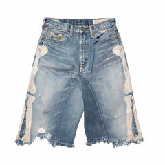 KAPITAL KOUNTRY 14oz Denim Damaged Shorts (Bone) IDG, Shorts
