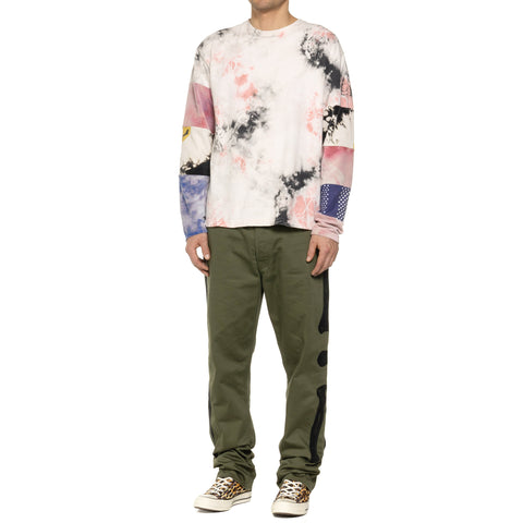 Kapital Kountry Jersey Crazy Patchwork Hippie Long Sleeve T (Ashbury Dyed) White x Pink, Sweaters