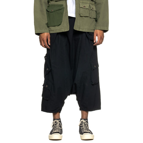 KAPITAL Rip Stop Shimokita ALPINE Sarouel Pants Black, Bottoms