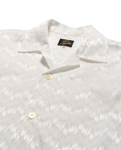 Needles Cabana Shirt - Wave Emb. White, Shirts