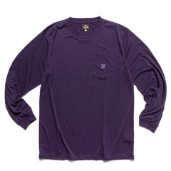 Needles L/S Crew Neck Tee - Poly Jersey Eggplant, T-Shirts