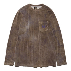 Needles L/S Crew Neck Tee C/Poly Velour Uneven Dye Olive, Sweaters