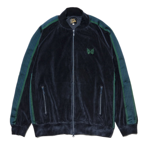 Needles Rib Collar Track Jacket - C/Pe Velour Navy, Outerwear