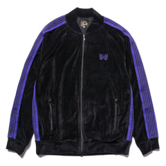 Needles Rib Collar Track Jacket - C/Pe Velour Black, Outerwear