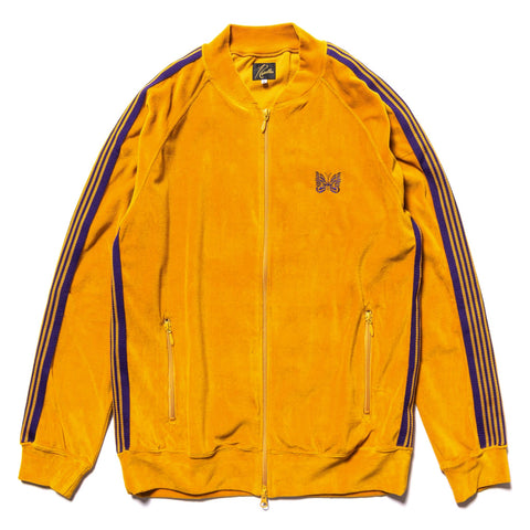 Needles Rib Collar Track Jacket - C/Pe Velour Mustard, Outerwear