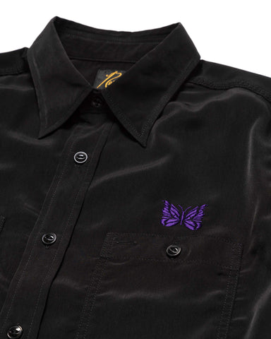 Needles S/S Work Shirt - Poly Cloth Black, Shirts