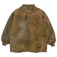 Needles Stand Collar Down Sur Coat - Nylon Tussore Unenven Dye Olive, Jackets