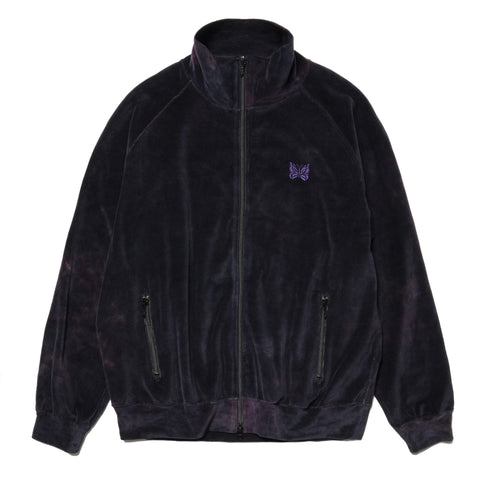 Needles Track Jacket - C/Poly Velour / Uneven Dye Black, Outerwear