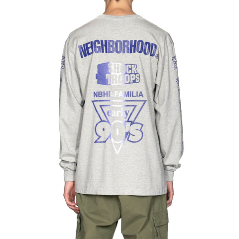 NEIGHBORHOOD Familia / C-Tee . LS Gray x Purple, T-Shirts
