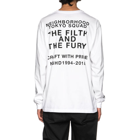 NEIGHBORHOOD Filth and Fury / C-Tee . LS White, T-Shirts