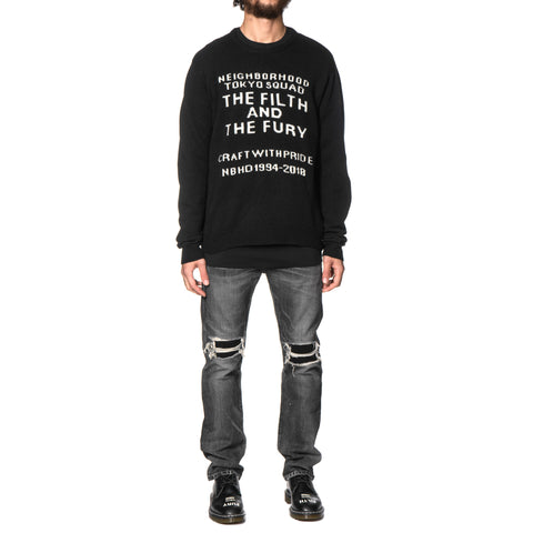 NEIGHBORHOOD Filth and Fury / W-Crew . LS Black, Knits
