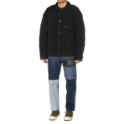 NEXUSVII 1st. Cable Knit Jacket Black, Outerwear